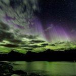Northern Lights with purple beams