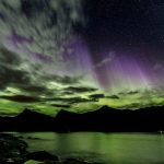 Northern Lights with purple beams