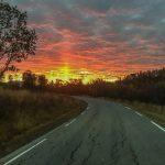 Sunset on road Senja