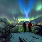 Nightview at viewpoint Bergsbotn with Northern Lights